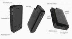 iPhone case with built in charger and taser by Yellowjacket #iPhone #iOS7 #Apple #Yellowjacket