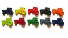 Tractor Crayons set of 10 - party favors - farm  by KagesKrayons on Etsy https://www.etsy.com/listing/151468388/tractor-crayons-set-of-10-party-favors