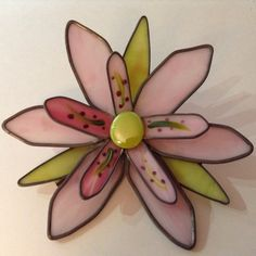 Pink 3-D large stained glass garden flower by DianeMicheleVolrath on Etsy