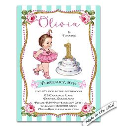 Glitter First birthday invite. Any age Birthday by CupidDesigns