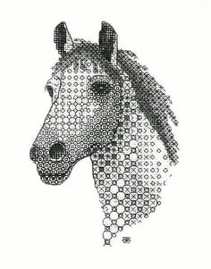 Blackwork Horse Hand Embroidery by Tanja Berlin - Berlin Embroidery Designs Blackwork Cross Stitch, Blackwork Embroidery, Cross Stitch Embroidery, Cross Stitch Patterns, Hand Embroidery Kits, Embroidery Patterns, Cross Stitch Numbers, Blackwork Patterns, Cross Stitch Animals