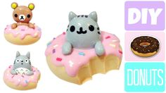 DIY Donut Rilakkuma, Pusheen & Totoro! Kawaii Polymer Clay or Cold Porce...