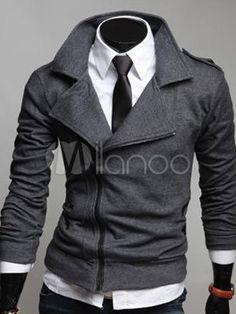 Deep Brown Zipper Turndown Collar Cotton Blend Men's Jacket