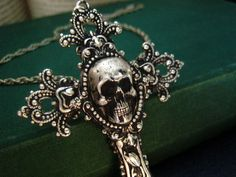antique Sterling silver plated skull cameo ornate cross necklace