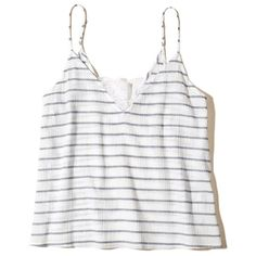 Hollister Must-Have Easy Lace Tank ($15) ❤ liked on Polyvore featuring tops, white stripe, print tank, white tank top, stripe tank, white lace tank top and draped tops