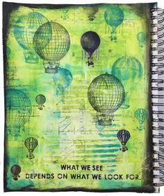 mixed media art journal page - Marjie Kemper Aug2015