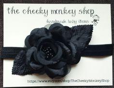 Black Silk Rose Headband by TheCheekyMonkeyShop on Etsy