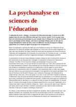 La psychanalyse en sciences de l'éducation  La psychanalyse en sciences de l'éducation