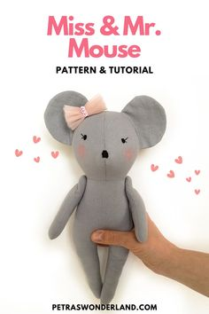 Extremely cute! Designed so can easily be carried around in small hands. Miss and Mr. Mouse doll tutorial are PDF Sewing Pattern with detailed instructions so it is suitable for a sewist with a basic knowledge of machine sewing, hand sewing, and embroidery. Doll Sewing Patterns, Doll Clothes Patterns, Doll Tutorial, Softies, Small Gifts, Gifts For Kids, Hand Sewing, Meaningful Gifts, Easy Sewing Projects