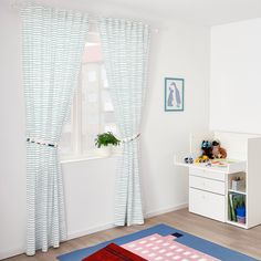 UPPTÅG Curtains with tie-backs, 1 pair, waves/boats pattern, blue, - IKEA Boys Curtains, Childrens Curtains, No Sew Curtains, Childrens Play Kitchen, Play Kitchen Sets, Window Treatments Living Room, Living Room Windows, Moroccan Curtains, Curtains Without Sewing