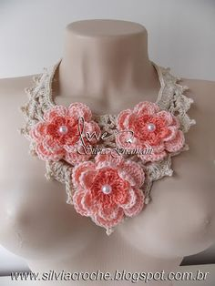 Inspiration only - but, oh what inspiration! Crochet Flower Tutorial, Crochet Flower Patterns, Crochet Flowers, Fabric Flowers, Crochet Quilt, Crochet Motif, Knit Crochet, Crochet Scarves, Crochet Clothes