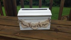 Rustic wedding card box weathered white card box by PineNsign