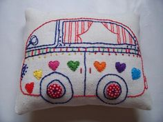 Hand embroidered Pin cushion. (Rainbow van of love)