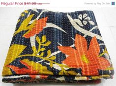 Hey, I found this really awesome Etsy listing at https://www.etsy.com/listing/203879162/vintage-throw-kantha-quilt-n-ethnic