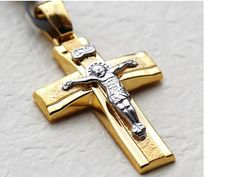 Hey, I found this really awesome Etsy listing at https://www.etsy.com/listing/255345921/mens-cross-necklaces-14k-yellow-gold