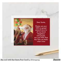 Am cool with that Santa Post Card Santa Cartoon, Christmas Prayer, Good Neighbor, Outside World, Santa Letter, Joy And Happiness, Post Card, Holiday Photos, Secret Santa