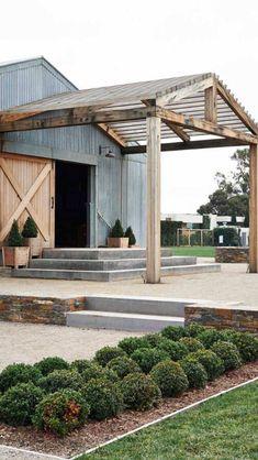 Pergola above barn entrance - best modern farmhouse exterior design ideas by bertha Modern Farmhouse Exterior, Farmhouse Style, Coastal Farmhouse, Farmhouse Interior, Farmhouse Ideas, Rustic Exterior, Farmhouse Sinks, Industrial Farmhouse, Farmhouse Design