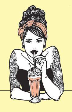 Posters and Prints - Teresa Wozniak ! Retro Kunst, Retro Art, Illustrations, Illustration Art, Rockabilly Art, Arte Fashion, Pin Up Tattoos, Psychobilly, Pin Up Art