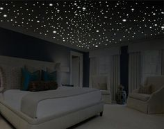 Romantic bedroom decor glow in the dark stars romantic gifts romantic wall decal romantic wall art removable wall decals ceiling decal Wall Decals For Bedroom, Bedroom Ceiling, Home Decor Bedroom, Cozy Bedroom, Bedroom Ideas, Shabby Bedroom, Budget Bedroom, King Bedroom, Bedroom Plants