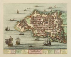 A beautifully engraved and richly detailed  birds-eye plan of the harbour and city of Valletta. 1705