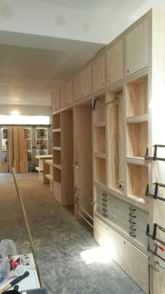 Shop interior made by houtlab. Underlayment Counters, changing rooms, shelving and storage. All in one