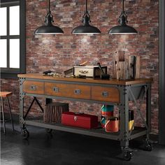 Garage Work Bench Vintage Industrial Workshop Tools Wood Metal Storage Table