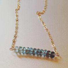Ombré Aquamarine Bar Necklace www.LunaSavita.com #simplicity #aquamarine #ombre #bar #barnecklace #classyjewelry #classy #simple #gold #goldnecklace #rawstone #gem #rawstonenecklace #gems #gemstones #aqua #blue #aquamarinenecklace #etsy #etsyseller #shopsmall #handmade #handemadejewelry #prettystones #etsysellersofinstagram #etsysellers #luna #lunasavita #shophandmade