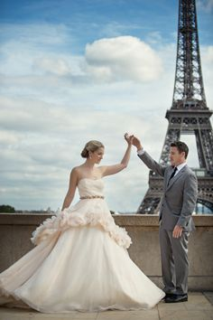 #Ballgown by Hayley Page | See more of this Paris Shoot on Style Me Pretty: http://www.stylemepretty.com/2013/11/15/love-in-paris-photo-shoot-from-carla-ten-eyck  | Photography: Carla Ten Eyck | Gown from The White Dress by the Shore