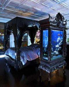 Contemporary Black Aquariums That Could Be Placed Beside The Bed