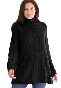 Sweater, pullover swing style, in Shaker stitch with mock turtleneck   Plus Size Tops & Tees   Woman Within