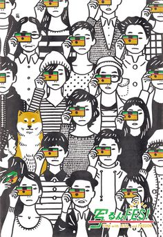 Black and white illustration of different people with colourful cameras and a brown shibu inu dog by Japanese artist / illustrator Nimura Daisuke Art Et Illustration, Graphic Design Illustration, Graphic Art, Exposition Photo, Arte Fashion, Posca Art, Ligne Claire, Illustrations And Posters, Photomontage