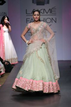 Anushree Reddy Light Green and Pink Lehenga Choli. www.gujaratidresses.com