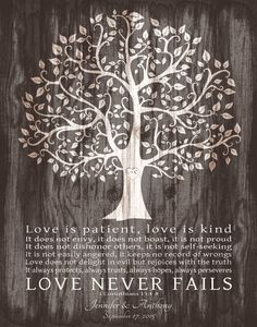 Personalized Wedding Gift for Couple Love is Patient Print 1 Corinthians Anniversary Gift Family Tree FAUX WOOD Art Canvas Print 8th Anniversary, Anniversary Gifts For Couples, Wedding Gifts For Couples, Personalized Wedding Gifts, Couple Gifts, Gifts For Family, Love Is Patient, Thing 1, Wood Art