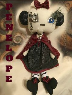 by DDSMASCOTMONSTERS on Etsy  Hello everyone  My name is Penelope  I am a steampunk doll That loves to travel around the world.  I have been around for decades, centuries even. I've been everywhere and seen everything.  Now I would like a home. Old time fashion, clocks and history is my jam.  I stand out amongst the rest and if my little hand holds your big hand no monster and nothing in time will harm you.  Through everything time withstands and so will we, holding hands. Xoxoxo