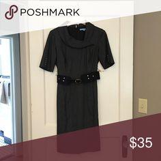 Antonio Melani Black Dress with Belt- Size 2, $35 Black dress with bits of silver.  Black belt. Knee length. Great for business wear. ANTONIO MELANI Dresses