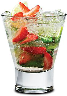 Strawberry Mojito-Strawberry Mojito 1½ oz Bacardi Superior Rum 8 Mint leaves, plus one sprig 1 Lime, quartered 2 Strawberries, halved 1 oz Simple syrup In a mixing glass, muddle 8 fresh mint leaves, 3 of the 4 lime quarters, and the strawberry halves, with the simple syrup. Fill glass with crushed ice. Add 1½ oz of Bacardi Superior Rum. Top with more ice and fill with club soda.