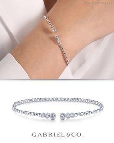 White Gold Bujukan Bead Split Cuff Bracelet with Bezel Set Diamonds 14k Gold Bangle Bracelet, Diamond Bangle, Diamond Jewelry, Body Jewelry, Fine Jewelry, Fashion Bracelets, Fashion Jewelry, Diamond Mangalsutra, Imitation Jewelry