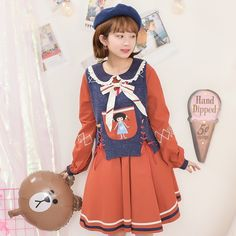 Mori Girl Clothing Vest on Mori Girl の森ガール.Mori Playful Girl Bear Patchwork Vest Pretty Knit Tops .Alternatively stay bang up to date with the latest retro-look , adding 80's style glamour with a 24st Century twist.