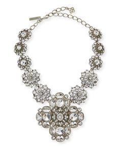 "Oscar de la Renta Crystal Statement Necklace Oscar de la Renta statement necklace. Silvertone pewter/steel/brass. Swarovski® crystals. Approx. 16""L with 4"" extension. Pendant drop, approx. 3.5""L."