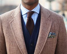 French Toast herringbone jacket brown tie knitted