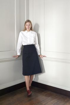 OLD TOWN Bloomsbury skirt in Navy Stout Twill