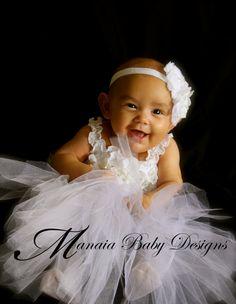 Baby Christening Dress / Baby Confirmation Dress/ Baby Baptism Dress/ Blessing Dress / Flower Girl Dress / Infant White Tutu Dress. $68.00, via Etsy.