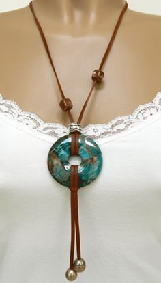 "Jasper, deer leather cord, freshwater pearls, copper beads, silver-plated components, 24"", $39 