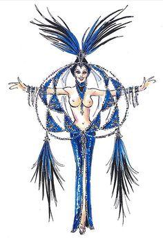 Sapphire Jubilee Showgirl sketch by Bob Mackie