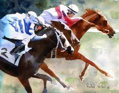Racehorse art Print Race Thoroughbred Quarter by rachelsstudio