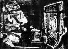 """Lygtetænderen har tændt. """"Når han tændte lygten, væltede lyset ud i gaden og ind i stuen og dannede sære skygger. Lygtetænderen drog uanfægtet videre, og vi rullede ned og tændte egne lamper, og man begyndte at tale om sengetid. Gaslygterne forsvandt fra gaden, efter sigende fordi det var for nemt for de slemme drenge at slukke dem om natten og tænde dem om dagen."""" (Ib Spang Olsen)"""