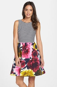 Taylor+Dresses+Mixed+Print+Fit+&+Flare+Dress+(Regular+&+Petite)+available+at+#Nordstrom