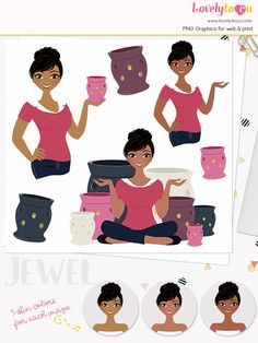 Woman candle character clipart scented candle warmer clipart