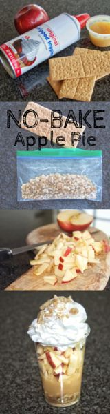 No-Bake Apple Pie Great recipe for kids. Simple and easy to make with apples, applesauce, graham cracker, and whipped cream