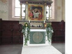 The altar with the antependium in the church of the Holy Cross of Wiesenbronn